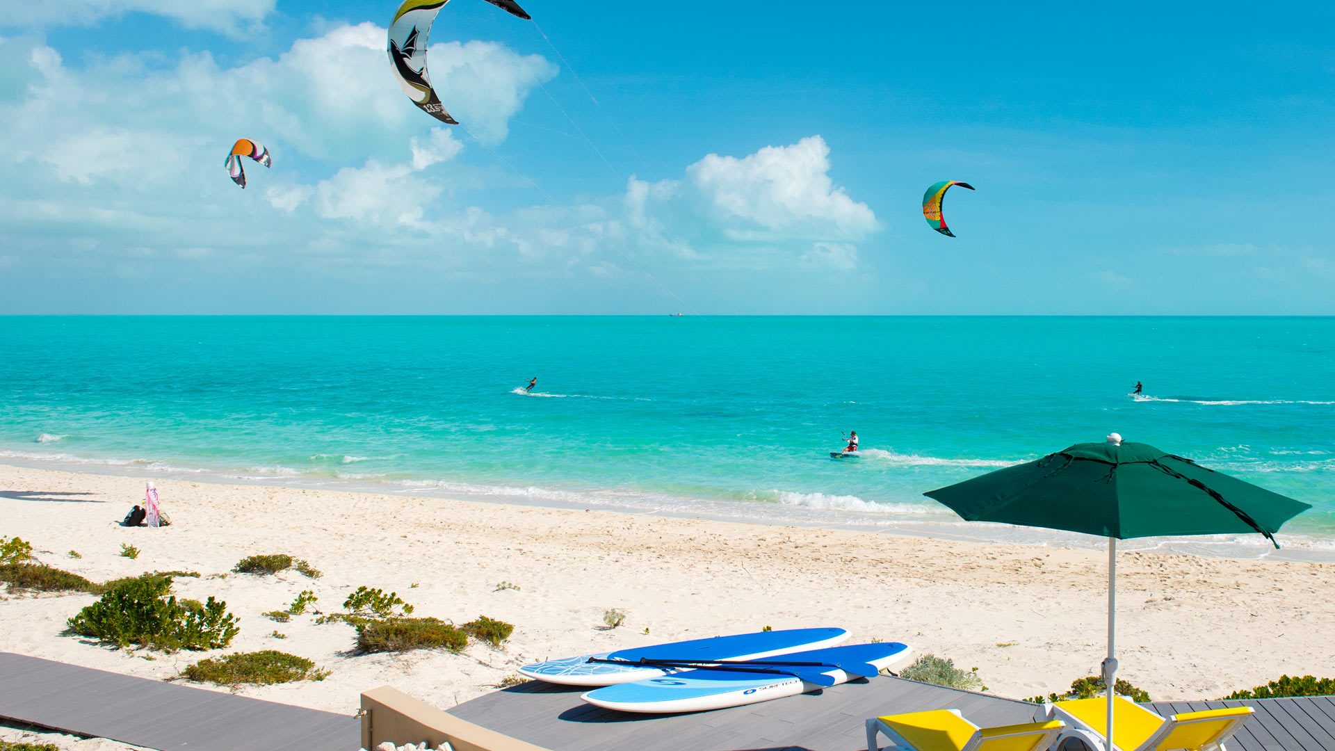 Windhaven Luxury beach villas rental, Long Bay, Turks and Caicos - Enjoy kiteboarding