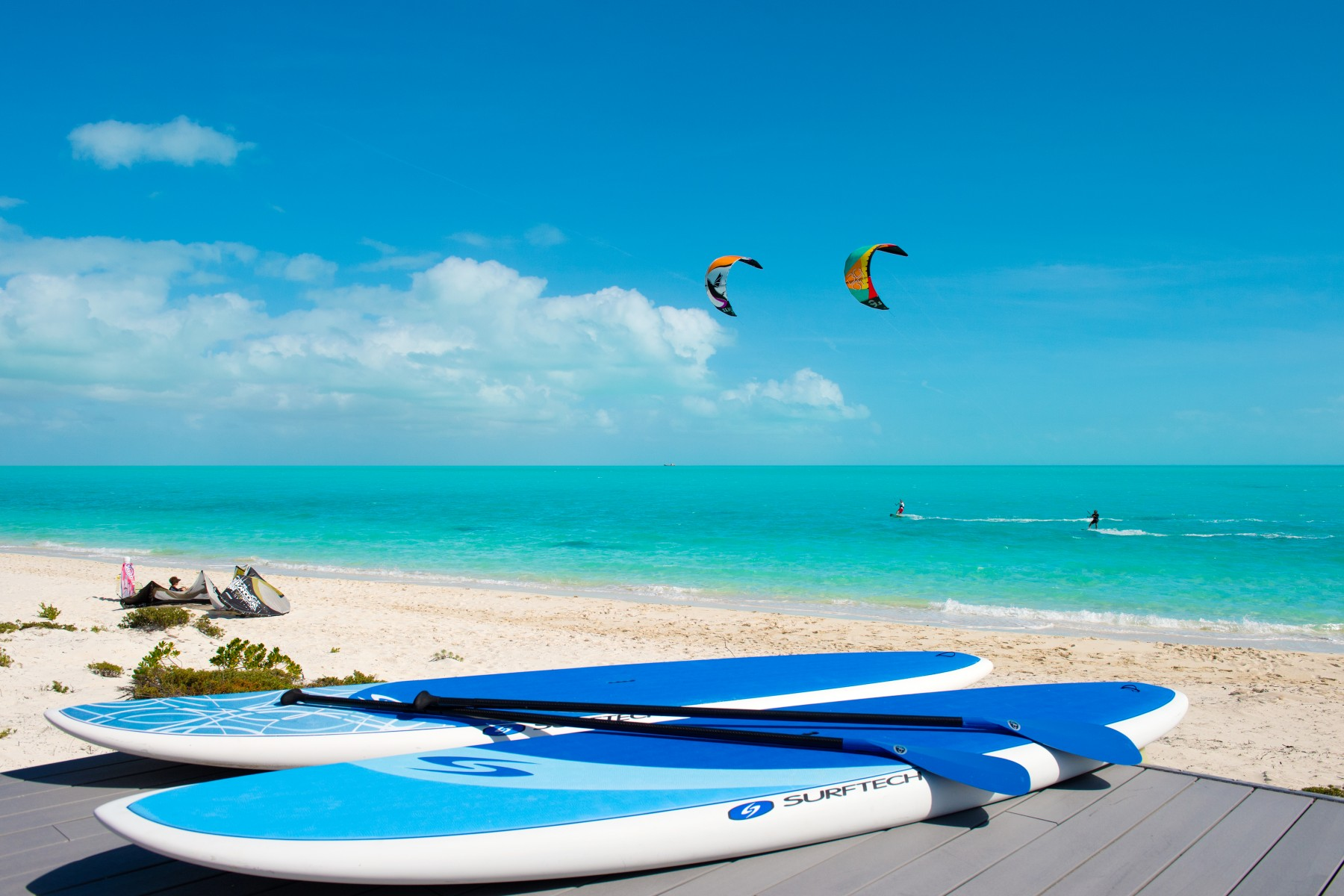 Kiteboarding  in front of Windhaven luxury beach villas rental
