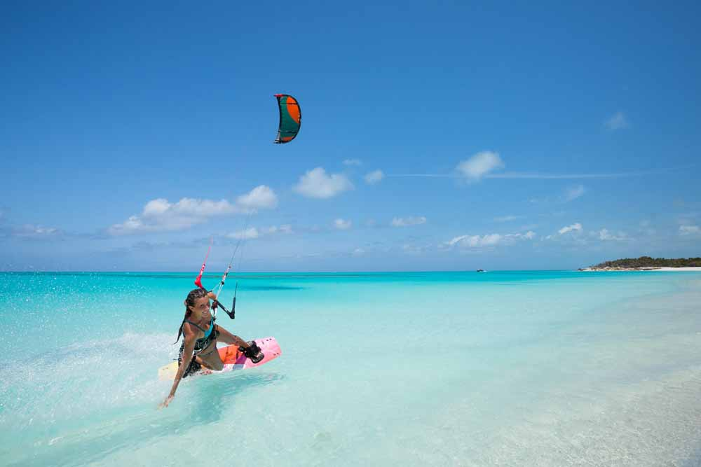 Kiteboarding  in front of Windhaven luxury beach villas rentalv